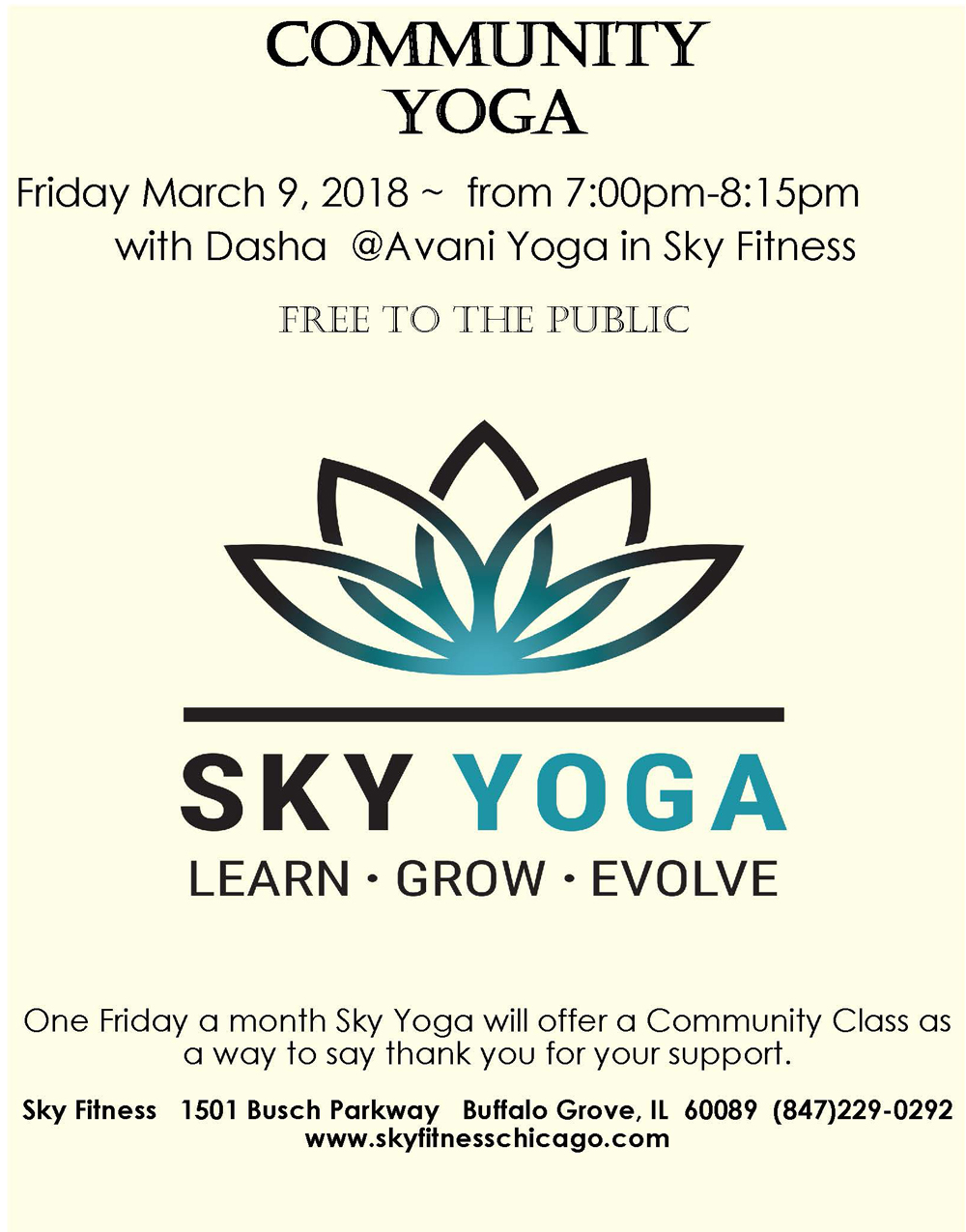 March 2018 Community Yoga - Sky Fitness Chicago